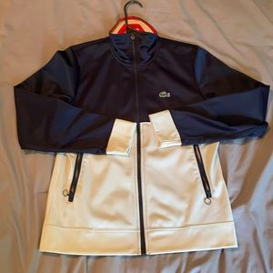 Lacoste size 42 sport track jacket red white blue